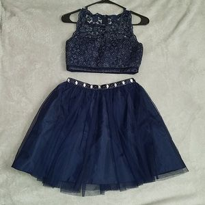 Blue 2 Piece Dress